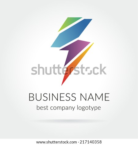 Colored lightning logo icon for design - stock vector