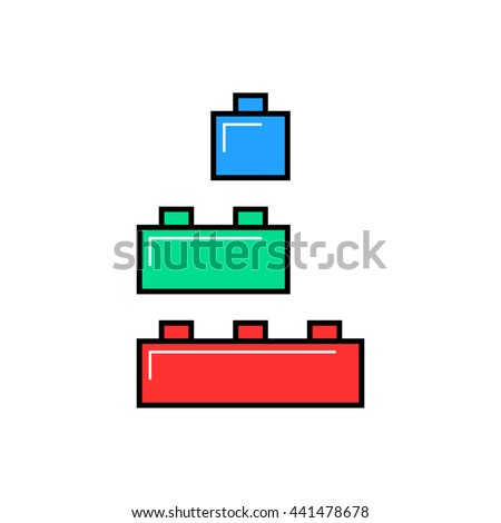 colored linear building toy. concept of small edifice, brickwork, compound, puzzle, project, component collection. flat linear style trend modern brand design vector illustration on white background - stock vector