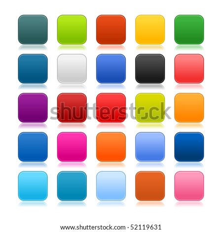 Colored matted blank rounded squares buttons with color reflection on white - stock vector