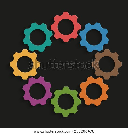 Colored mechanism of gears on black background - stock vector