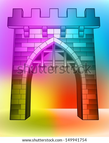 colored medieval castle gate on ground vector illustration - stock vector