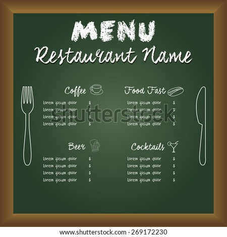 Colored menu design on a board with text and icons. Vector illustration - stock vector