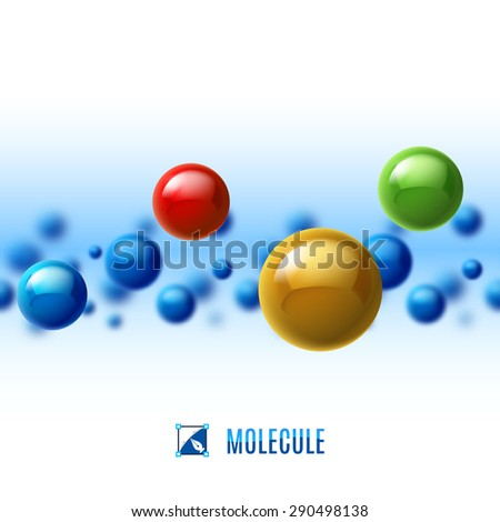 Colored molecular structure. Abstract background with blur effect