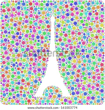 Colored mosaic of the Eiffel Tower in Paris (France) into a square sign. A number of 3999 little bubbles are accurately inserted into the mosaic. White background. - stock vector