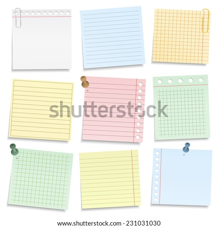 Colored notebook paper with push pins and clips, vector eps10 illustration - stock vector
