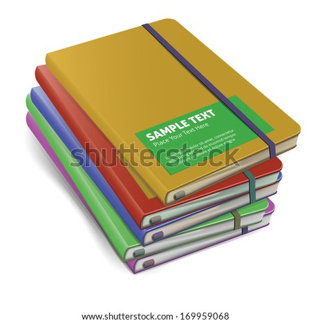 colored notebooks mock-up. vector illustration - stock vector