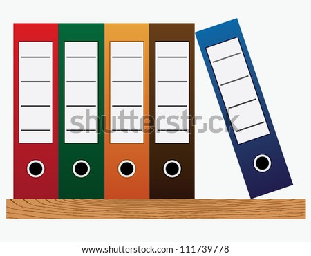 Colored office folders at the bookshelf on the white background. - stock vector