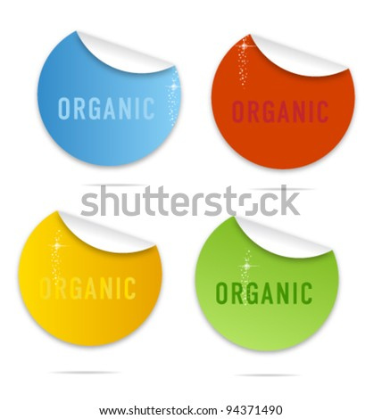 colored organic labels set isolated - stock vector