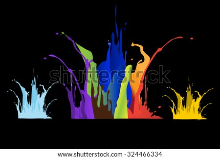 Colored paint splashes on black background ,vector illustrations - stock vector