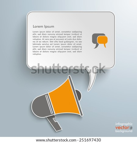 Colored paper bullhorn with speech bubble on the gray background. Eps 10 vector file. - stock vector