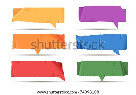 Colored paper speech bubbles - rectangular - stock vector