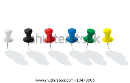 Colored paperclips isolated on white background. Vector illustration.