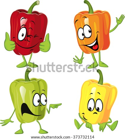 Colored paprika (pepper) cartoon isolated on a white background - stock vector