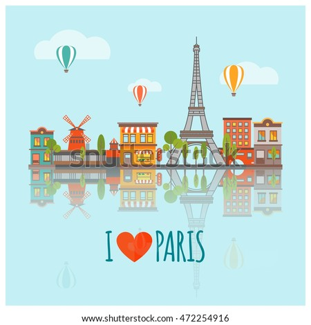 Colored Paris Skyline Poster With Panorama Of The City Major Attractions Vector Illustration