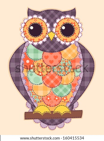 Colored patchwork owl. Vector quilt illustration. - stock vector