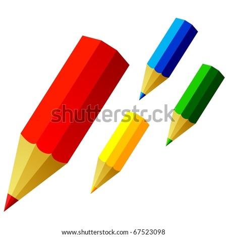 colored pencils - stock vector