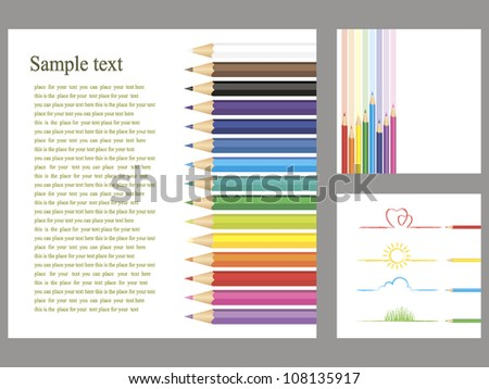 colored pencils and children's drawings on a white isolated background