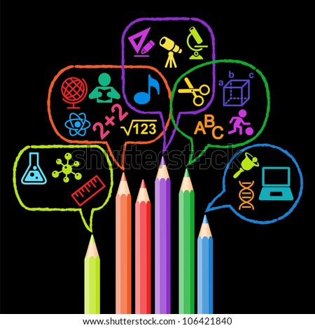 colored pencils and Speech Bubble surrounded by icons of Education - stock vector