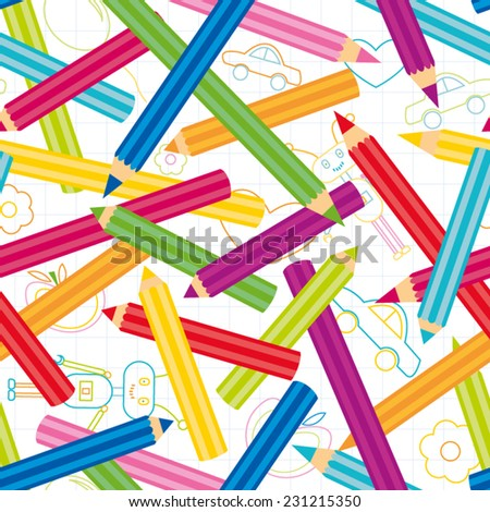 Colored Pencils Background.Back to school seamless pattern - stock vector