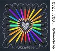 Colored pencils, heart shape, vector Eps10 illustration. - stock vector