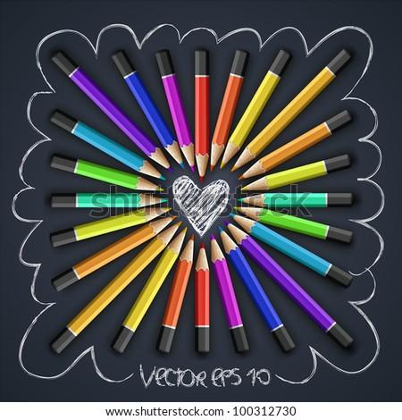 Colored pencils, heart shape, vector Eps10 illustration. - stock vector