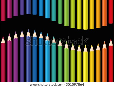 Colored pencils or crayons as a rainbow colored wave. Seamless background can be created in all directions. Isolated vector illustration on black background. - stock vector