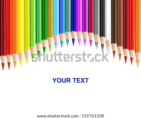 Colored pencils, rainbow curtain background. Vector illustration