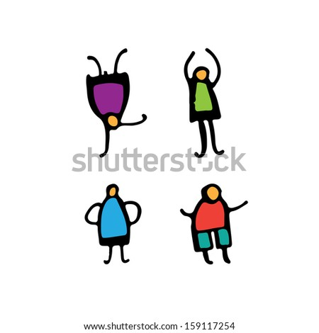 Colored people icon. - stock vector