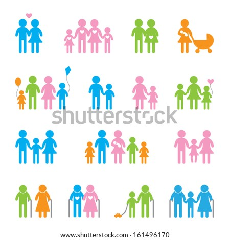 Colored people icon set - stock vector