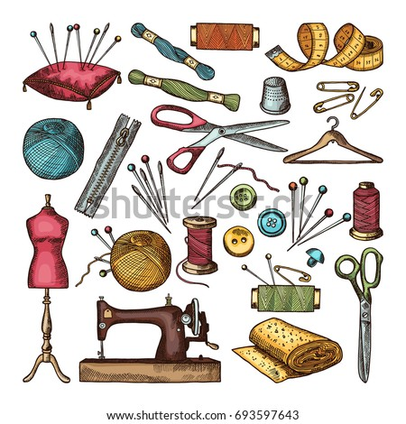 Colored Pictures Different Tools Needlework Sewing Stock Vector 693597643 - Shutterstock