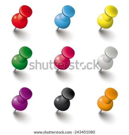 Colored pins on the white background. Eps 10 vector file. - stock vector