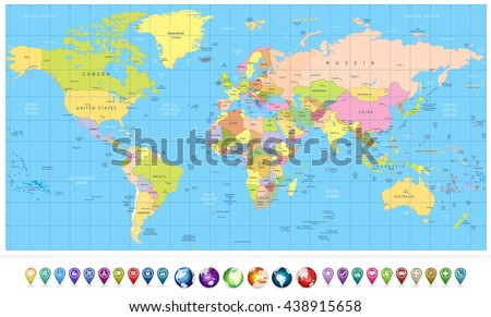 Colored political World Map and 3D globes with navigation icons.All elements are separated in editable layers clearly labeled. - stock vector