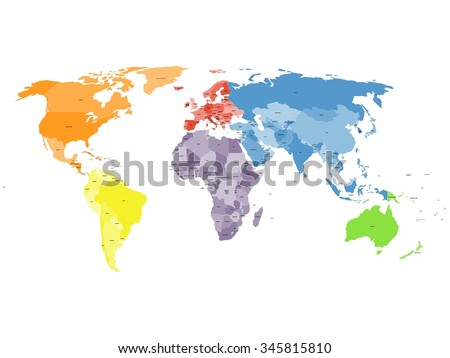 Colored political world map. Map World. World map. World vector map. Map vector. Map of World. Political map. Countries. States. Continents. Vector World map. Vector map of World.