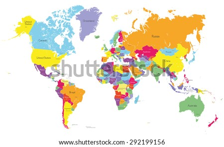 Colored Political World Map Country Names Stock Vector - World map with country names