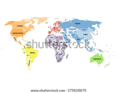 Colored political world map with names of sovereign countries and larger dependent territories. Different colors for each continent. South Sudan included. - stock vector