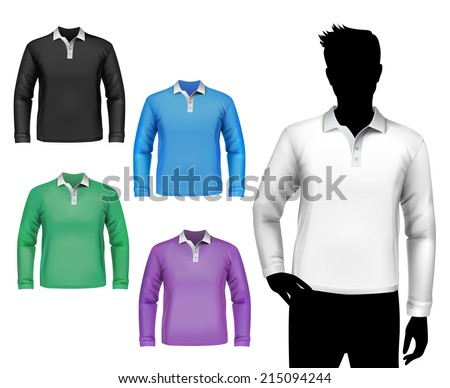 Colored polo long sleeve t-shirts male set with man body silhouette isolated vector illustration - stock vector