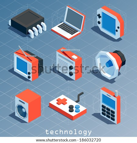 colored polygonal isometric technology icon set - stock vector