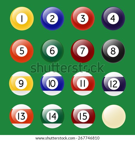 Colored Pool Balls. Numbers 1 to 15 and zero ball. Vector EPS10 illustration.