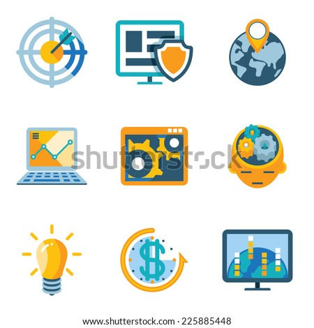 Colored Process Automation and Increase Efficiency Icons Isolated on White Background. - stock vector