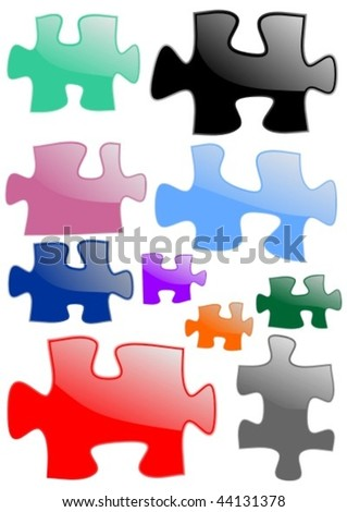 Colored puzzle pieces - vector illustration