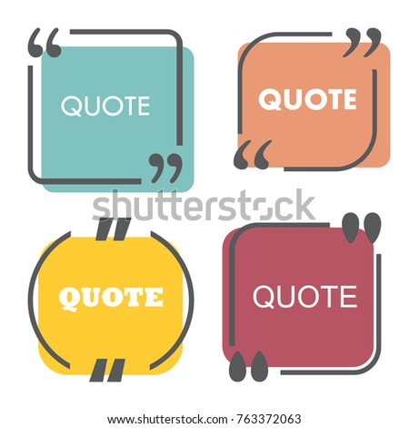 colored quote template quotes form speech stock vector 763372063