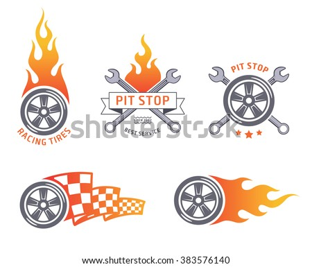 Colored racing tires and service vector emblems - stock vector
