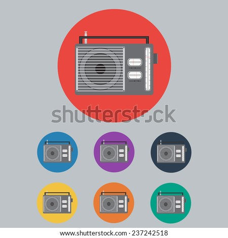 Colored Radio Icon Set. Vector Illustration - stock vector