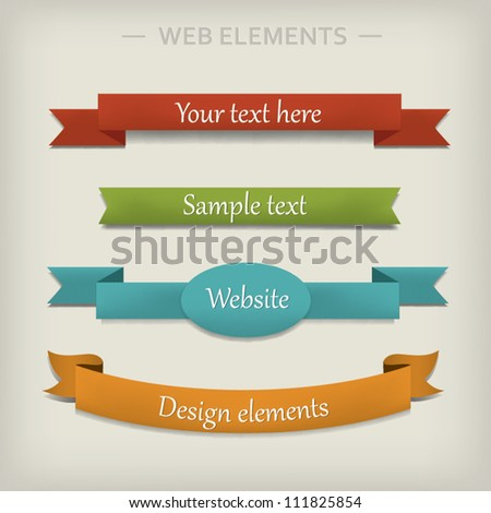 Colored ribbon elements for web - stock vector