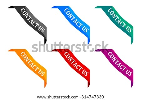 Colored ribbon with the inscription - contact us - vector