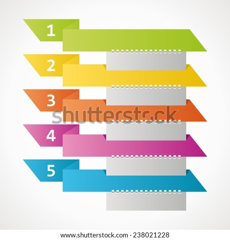 colored ribbons - steps to infographics. vector format. - stock vector