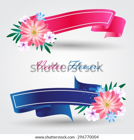 Colored ribbons with a flowers