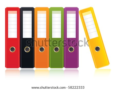 colored ring binders - stock vector
