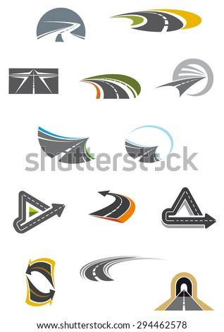 Colored road and freeway icons showing curving, winding, receding and convoluted tarred roads, isolated on white - stock vector