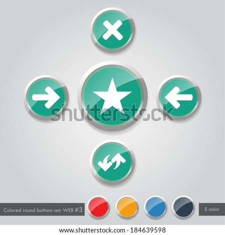 Colored round buttons set WEB #3 - stock vector